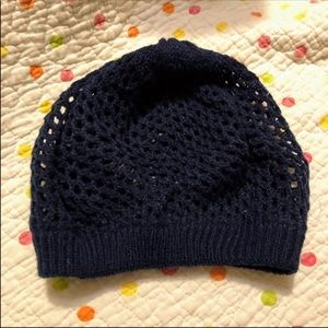 Womens Cute Navy Knit Beanie